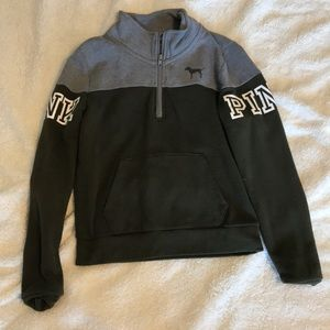 A green and grey zip up hoodie from pink!